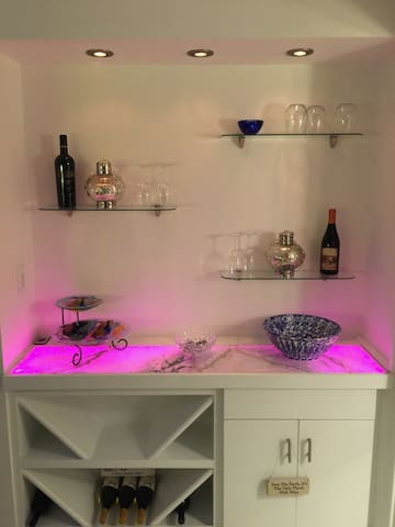 Wine Bar with LED lighting and remote control to change colors!