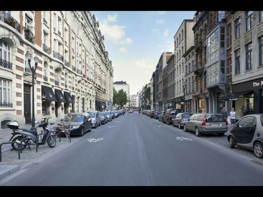 rue Antoine Dansaert. the apartment is on the 5th floor in the building you see left