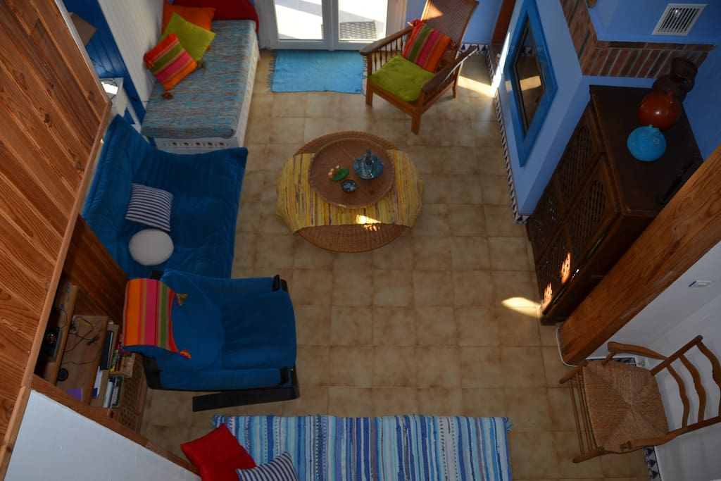 L'espace salon 1 : vue de la mezzanine.