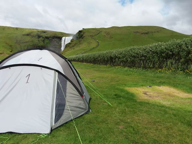 Camp by Skogafoss, One of Iceland´s Most Beautiful Waterfalls! Tent 1