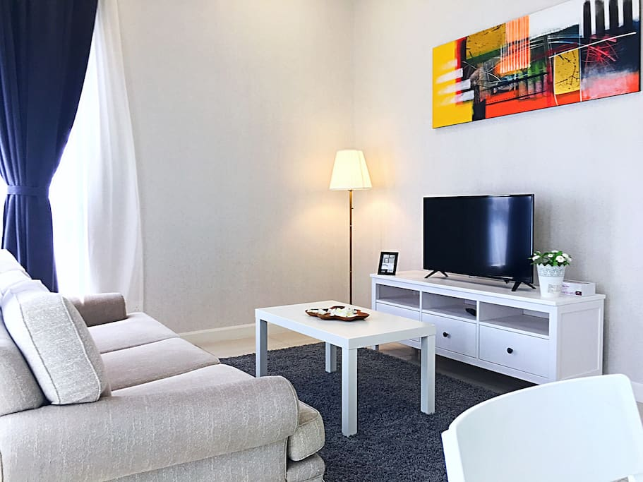 Living hall with cosy setting, balcony overlooking whole bangsar area.
