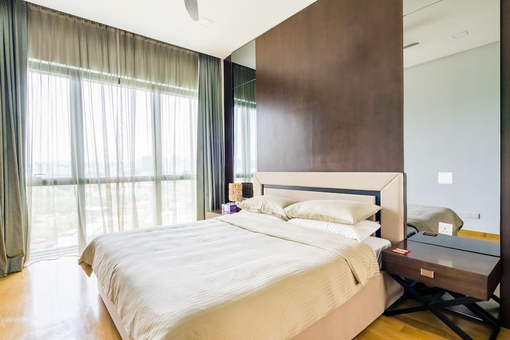 Master Bedroom with Temperature Control A/C, cool & comfy beddings.