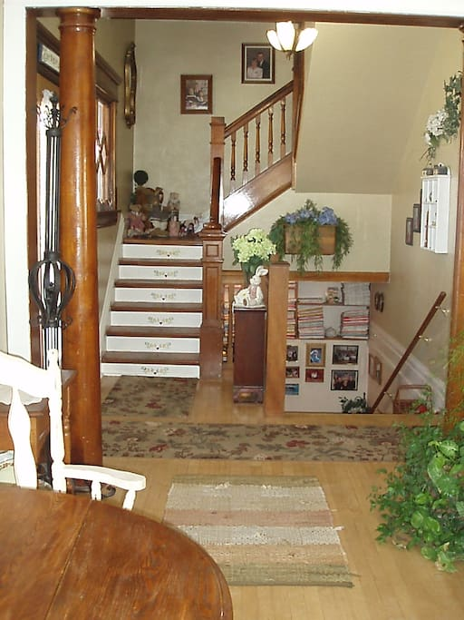 stairway to guest rooms on the 2nd floor.