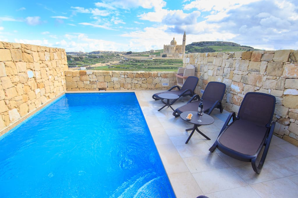 Exclusive Pool with View to Ta'Pinu Valley and Sanctuary