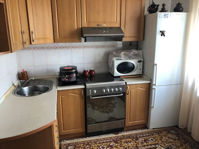 Kitchen cabinets and fridge