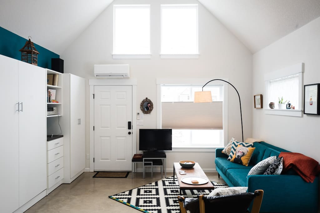 A vaulted ceiling and skylight keep the place feeling big and bright.