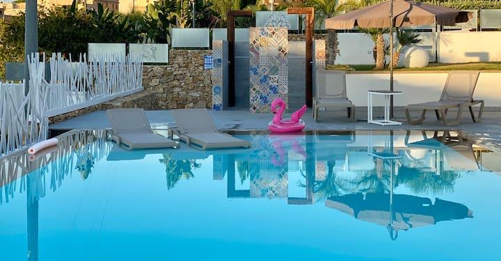 Porpora appartamento in Villa con piscina