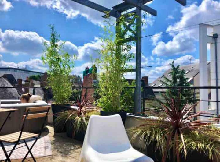 LE TY ANTRAIN, terrasse, jacuzzi, hypercentre