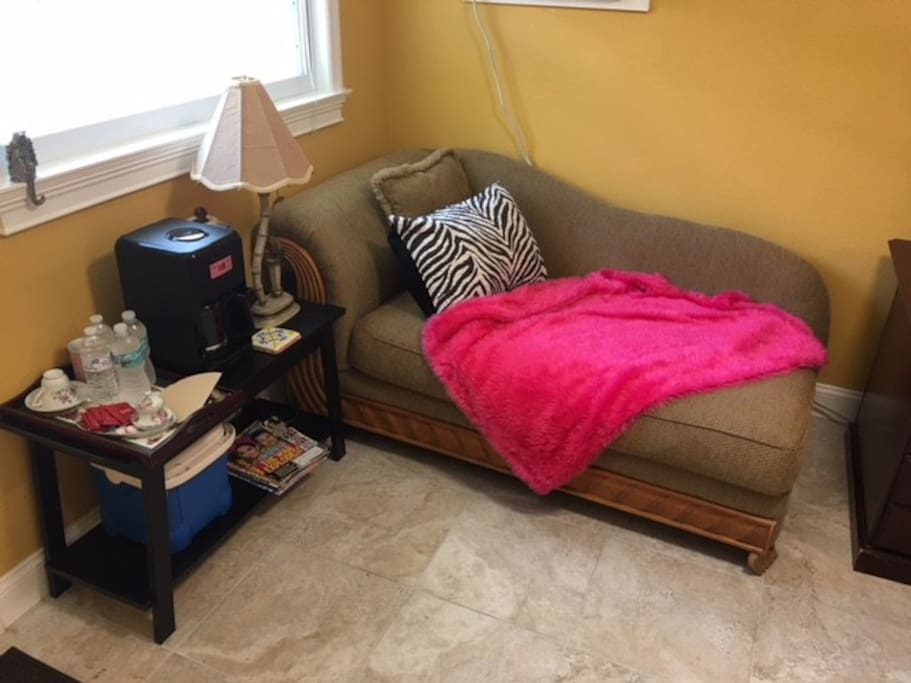 Sitting area for reading with coffee maker and microwave
