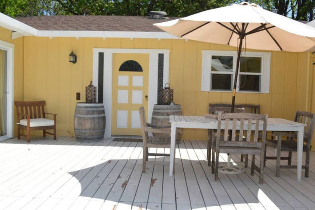 Front deck has plenty of room for outdoor dining and relaxing
