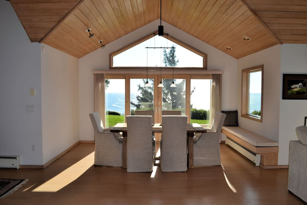 Dining room with incredible ocean views, table, and seating for 6