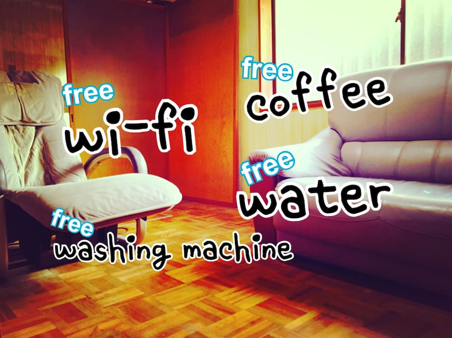 Common room. Basic amenities of this house: hair-dryer, dish, mug, sofa, riding machine, microwave, kettle, toilet, shower(all share)