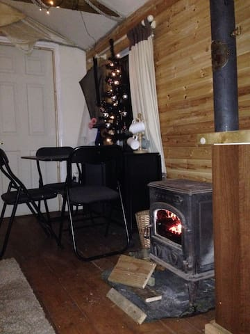 Wood burner and dining table