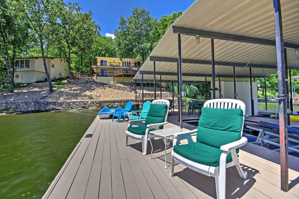 The lakefront house has a private dock to accommodate 2 boats.