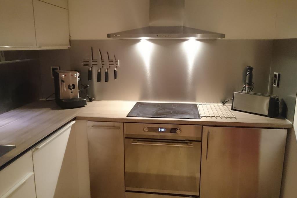 Kitchen: Fridge, induction, convention-oven, espresso machine