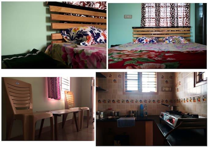 Homestay- Küche, Schlafzimmer und Private Terrasse