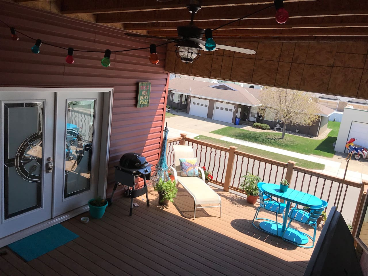 Comfortable covered deck to relax on.