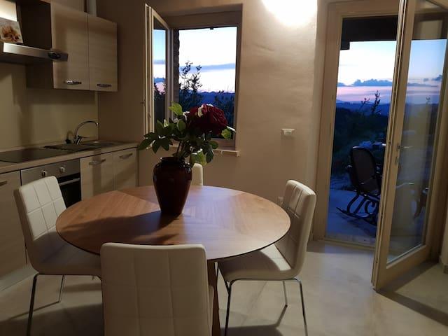 Vista dalla Living Room . Tv, Cucina con piano cottura ad induzione + forno e frigo.