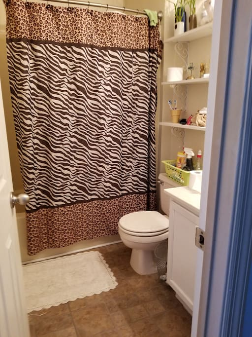 Upstairs bathroom. Shower on wand.  Great for tall people. Shared with others.