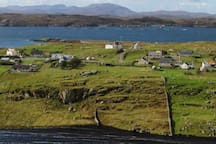 Looking down from Beannan to Ceann Bodaich and across the sea to great Bernera