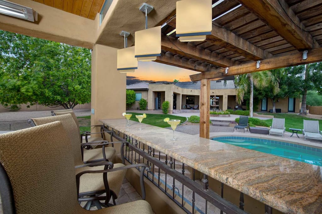 Bar seating by pool