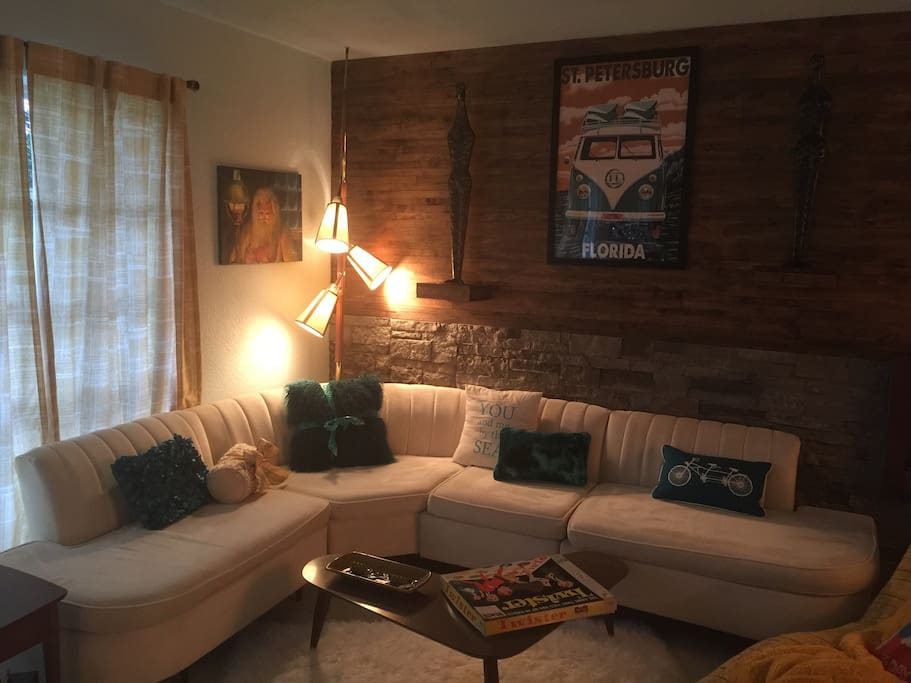 Relax in this mid century lounge area and play some old school games like Twister!