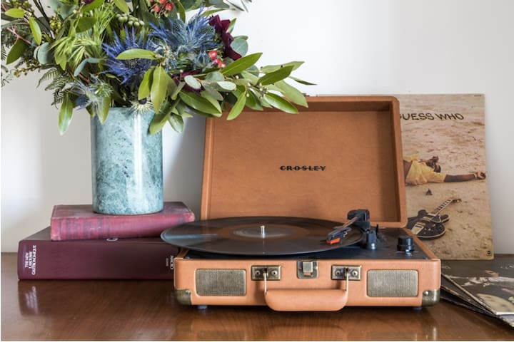 Austin's Rock & Roll Capital of the World.  I've added a record player to the room with some great Vinyl from my dad's original collection.  Enjoy!