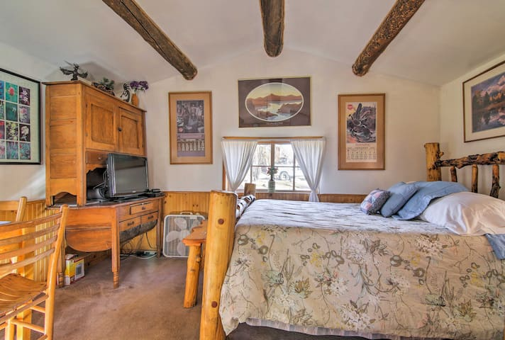 The rustic wood beams create a cozy ambiance at your home-away-from-home.
