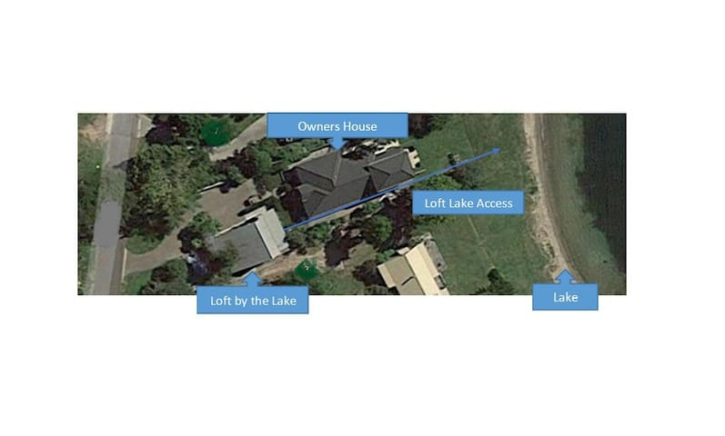Aerial view showing your direct access to Lake edge.
