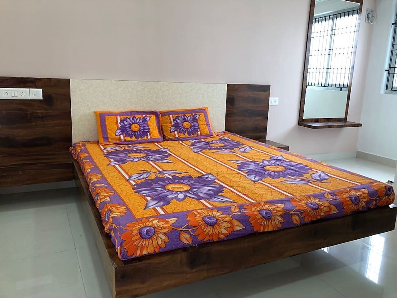 Queen Bed in the private bedroom, with air-conditioning!