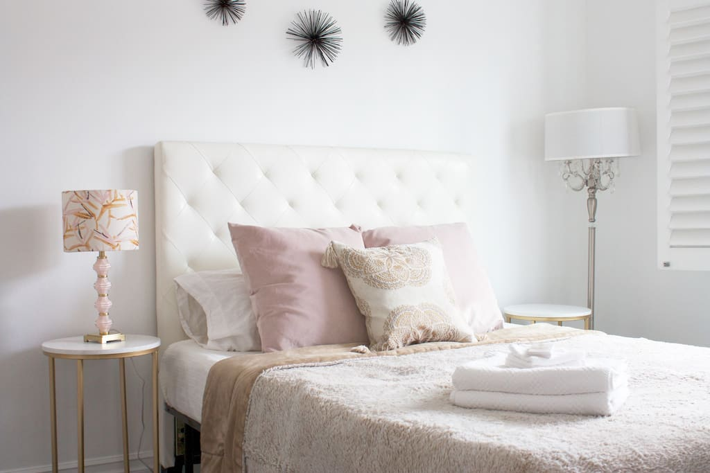 Queen Bed with fresh linens