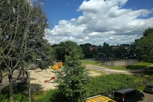 View at playground from the house