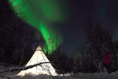 Glamping in an Arctic Lavvu heated tent