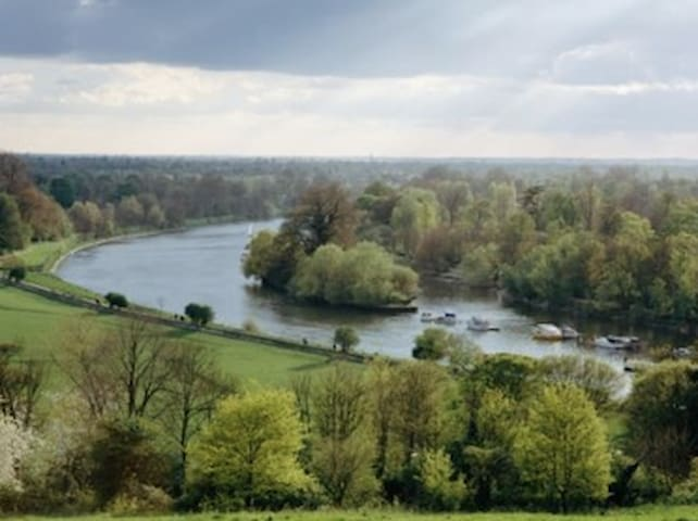 'Turner View' from Richmond Hill towards the Thames across Petersham meadows