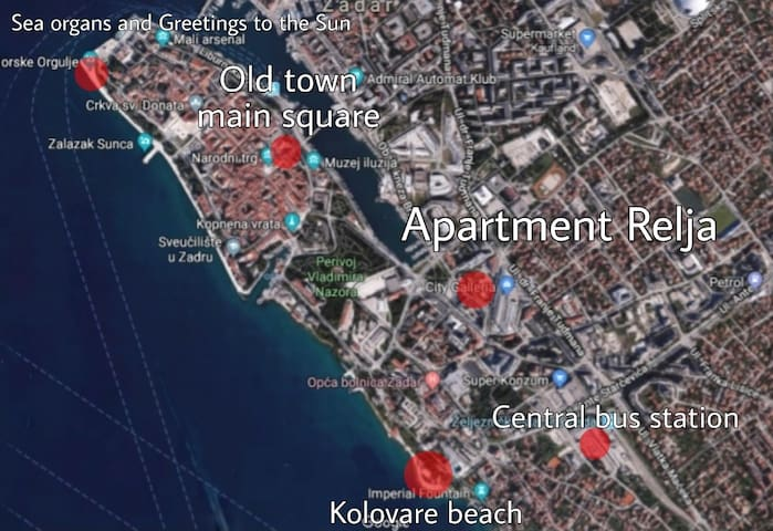 Red dots can help you see that the apartment is located in the center of Zadar just 10 minutes walking distance from old city, central bus station and beautiful beach. Shopping center and village market is 20 m from apartment.