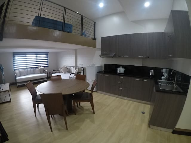 Living, Dining and Kitchen area