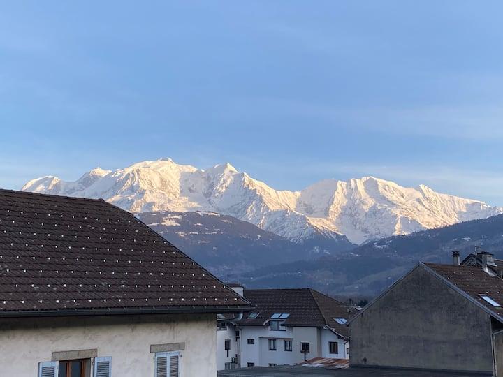 Logement entier à Sallanches_ Vue Mont Blanc