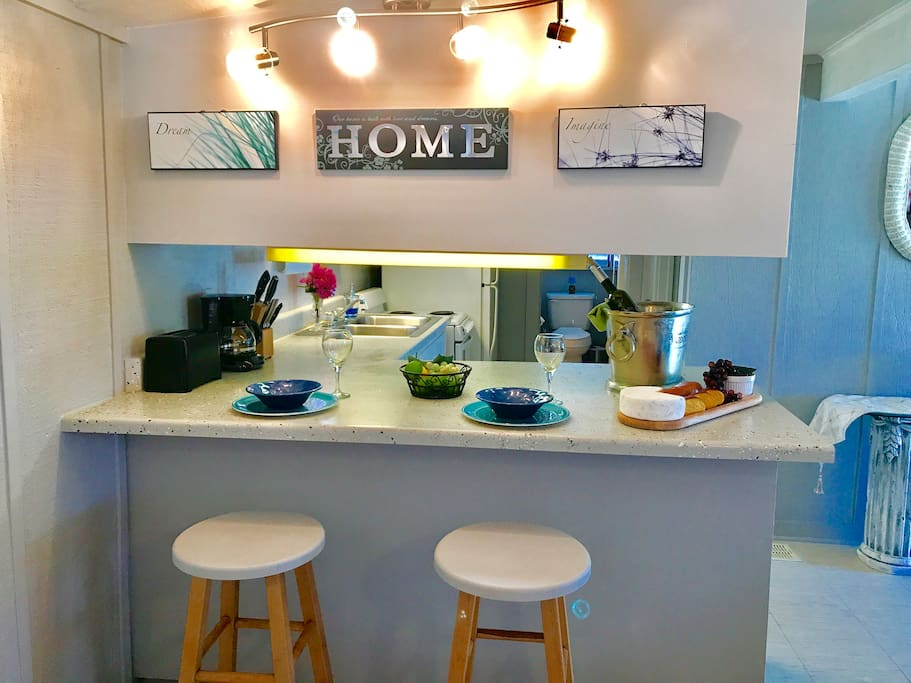 Breakfast/Bar area! Everything you need for grilling, cooking, and baking!  Even for a special occasion or the holidays!