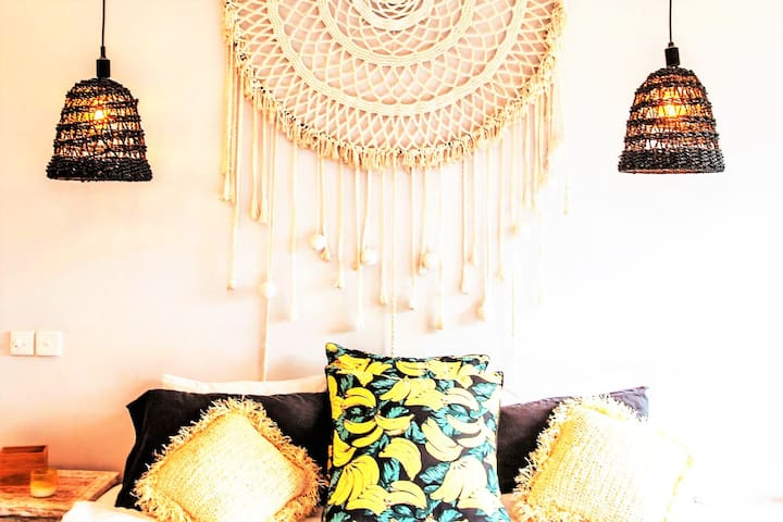 Beautiful island decor of the second floor master bedroom