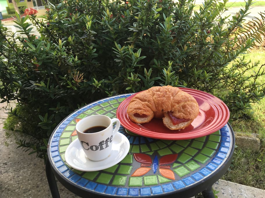 Front house mini patio - by far my favorite breakfast spot. I love to enjoy my coffee here (cafe con leche) and some breakfast.
