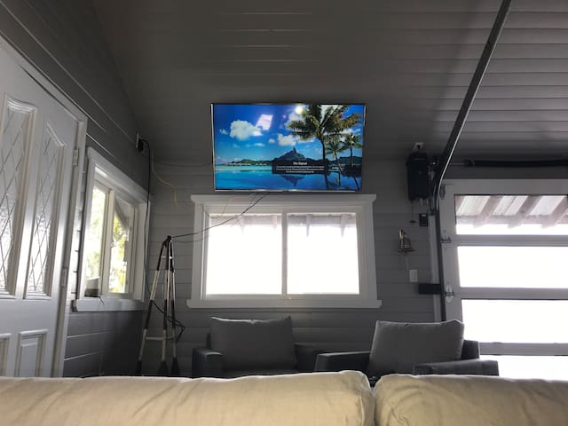 This is the view of the 55 inch 4k TV from the main queen-size bed!