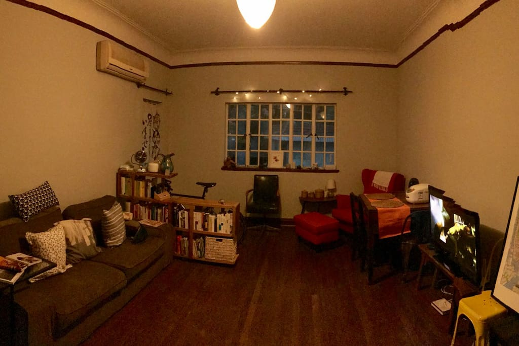 The spacious living room where u can stay on the sofa or I have mat for you