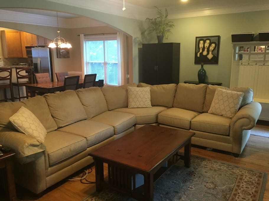 High quality sectional couch downstairs for hanging out (or sleeping!)
