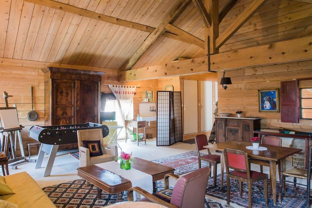 salon loft bois