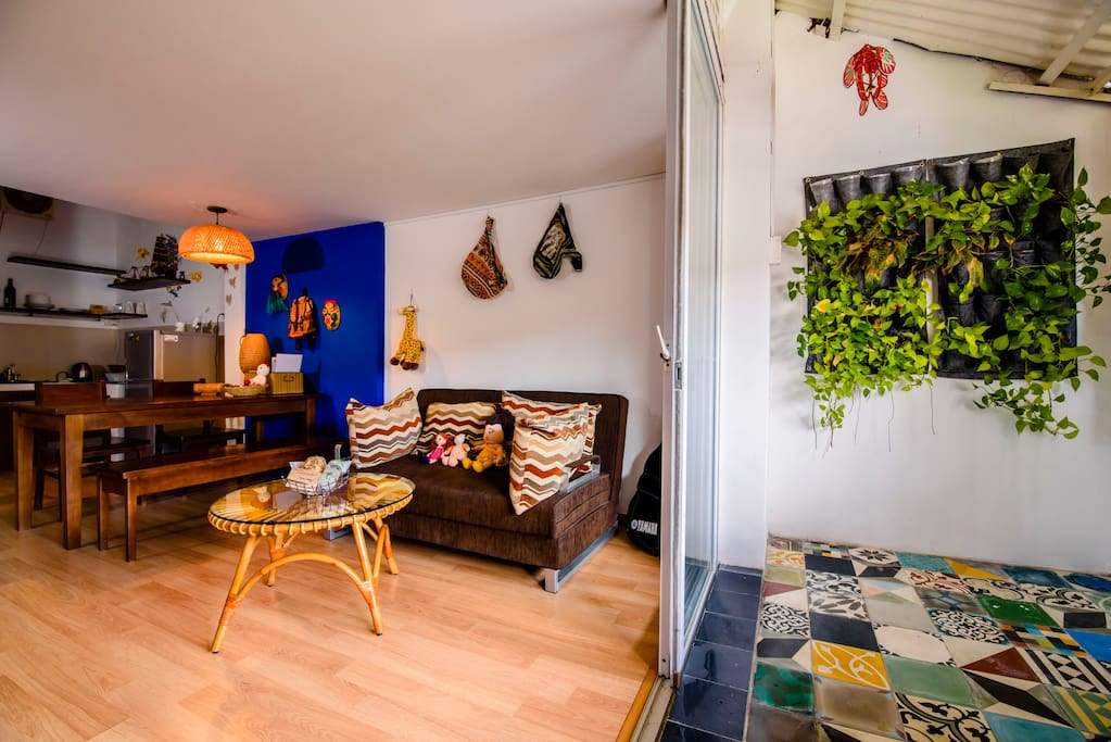 A cozy apartment with spacious balcony. We put some green trees to create a touch to the nature.