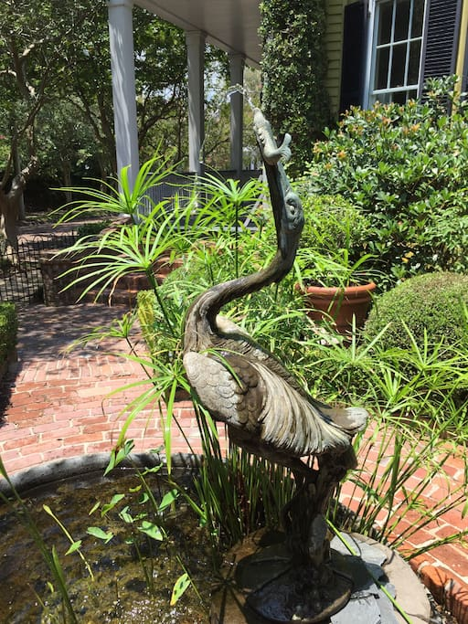 The gardens feature beautiful walks and fountains, including this treasure: a blue Herron brought to GardenSong from Venice.