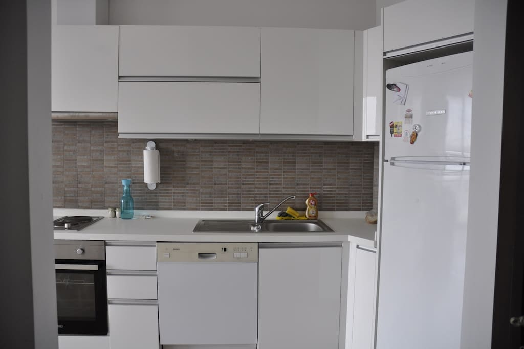 The open kitchen, with an oven, a dish washer, a big fridge and all dishes necessary.