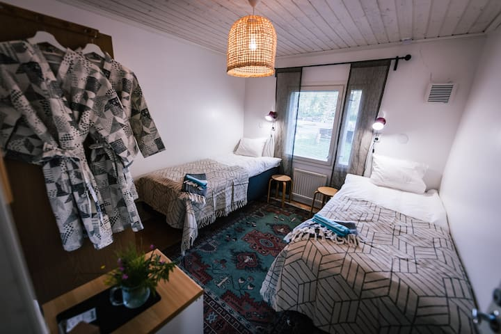 Twin room in cozy hostel in Ylläs, Lapland.