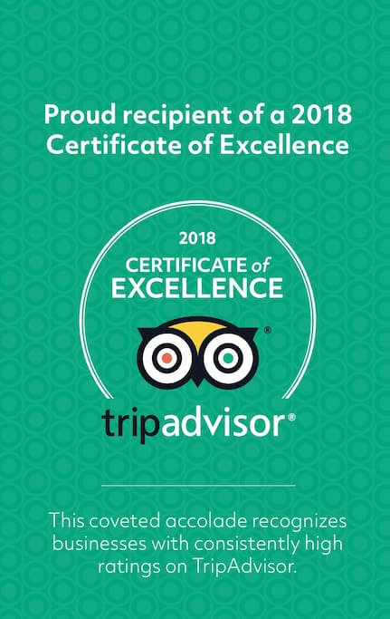 Our certificate of excellence awarded to us in 2018