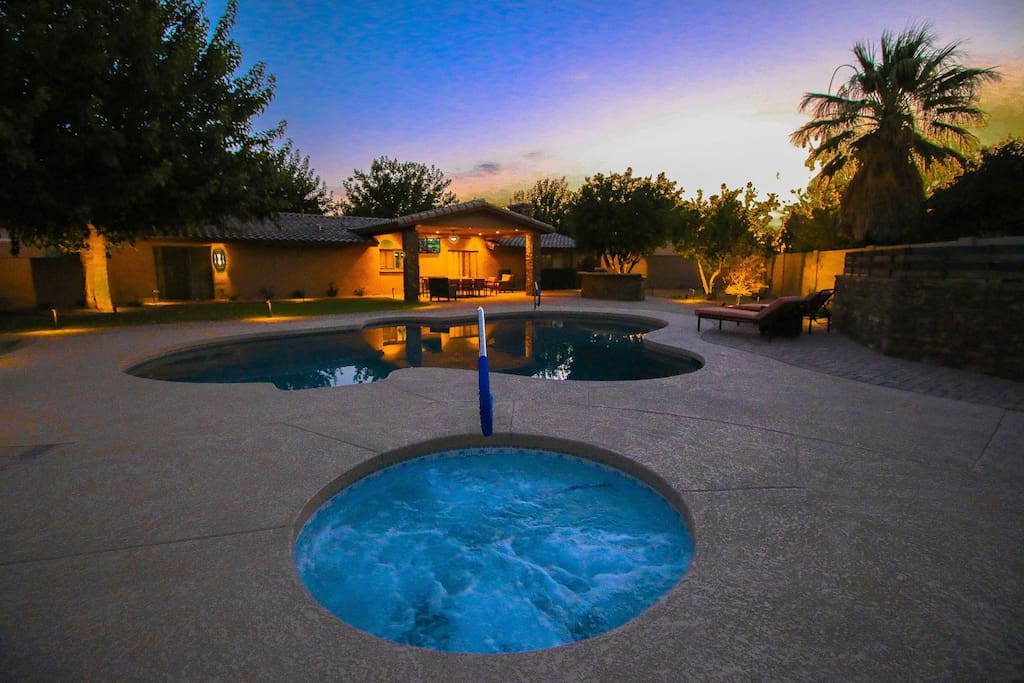 Pool and spa night view